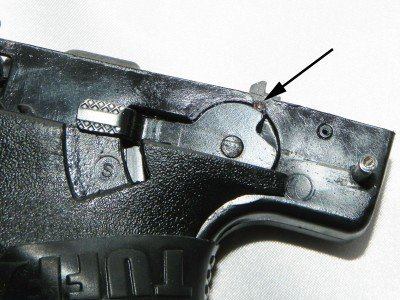 "In the ""safe"" position, the safety lever prevents the sear from lowering and releasing the firing pin."