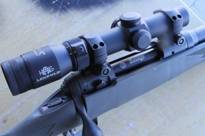 The review rifle at Media Day at the Range, SHOT Show 2012 had a Leupold Hog scope on it. It is a 1.25-4 power optic with an LED powered center dot.