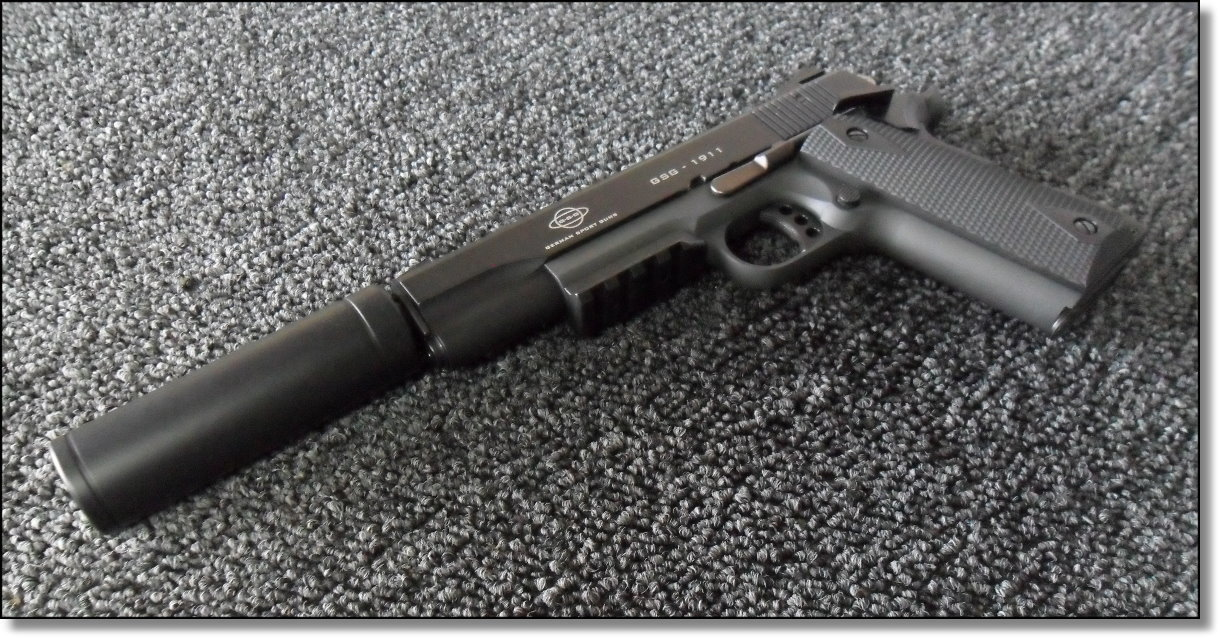 american tactical imports ati 1911 22 rimfire with fake silencer