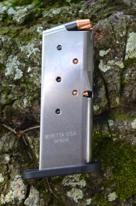 The Nano's stainless–steel magazines hold six rounds of 9mm.
