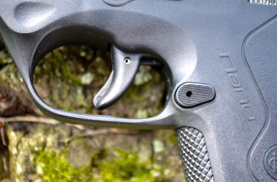 The Nano has no external safety levers, other than the ubiquitous trigger safety.  The trigger is heavy, but has a clean break and is easy to manage.