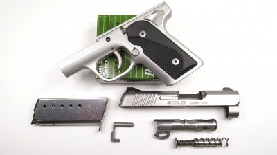 – A quick glance at the major pistol components shows a blending of traditional and contemporary design elements.  The grip angle, grip scales, slide stop, safety levers and magazine are distinctly 1911 inspired.)