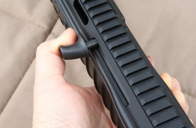 The cocking handle comes installed on the left side for right-handed shooters. It is swapable for lefties.