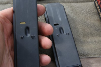It is a bummer that Taurus couldn't come up with a way to send at least 17-rounders with the gun. These mags are actually 17 round length, but have this crimp in them to limit the follower to 10 rounds. Generally drilling out the crimp on these kinds of mags isn't smart unless you get new springs as well.