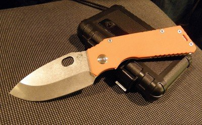TFF-1 with stone washed blade and bright orange Hi Vis scales