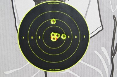 At seven yards, the XSP shoots a tight group and the fixed sights are dead on target.