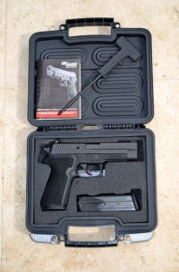 The P227 comes with two 10-round magazines, a grip removal tool/cleaning rod, a pistol lock, and a hard case.