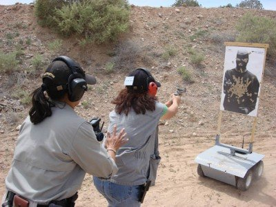 Most gun fights occur at a distance of five feet or less.