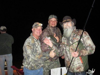 In a strange coincidence timed with this story, last week the Duck Dynasty crew came into town for an event and  hired our own Dwayne Powell from Kissimee River Hunt and Fish to take them crappie fishing.