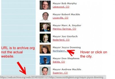 This is the list on archive.org, the one that MAIG didn't realize wasn't erased. Hover or click and you will see the page URL for the contact info for this mayor.