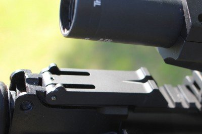 The AKARS pins in place where the rear sight leaf goes.
