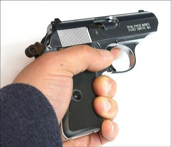 Even without the magazine, the Walther is easy to hold.