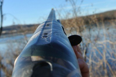 The view down the barrel. It is tapped for an optic mount if you are into putting one on a waterfowl shotgun.
