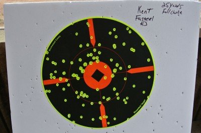 Kent Fasteel 3 inch #3 shot. Pattern was shot from 25 yards using the full choke that came with the shotgun.