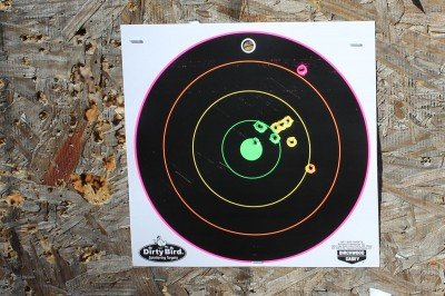 This is how our targets turned out. I could get the bull's-eye reasonably well, but only after I'd had a shot or two to close in on where it was hitting.