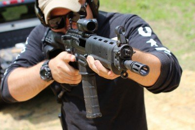 The whole package, pistol, tube, and brace, makes for an effective improvised SBR.