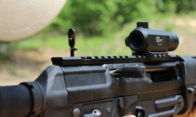The rear sight on the P556 is a true backup option. While it works fine, it isn't substantial enough for regular use.