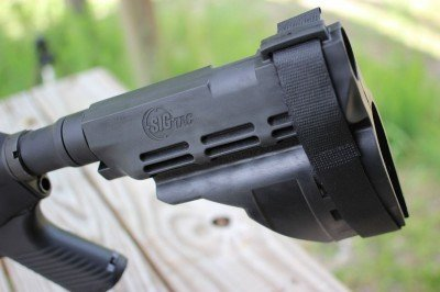 The SIG Pistol Stabilizing Brace can be used as an arm brace or placed against the shoulder like a stock.