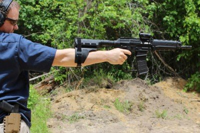 If you can support seven pounds at the end of your arm, the brace will allow you to shoot one-handed. Still, the P556 is far from stable in this position.
