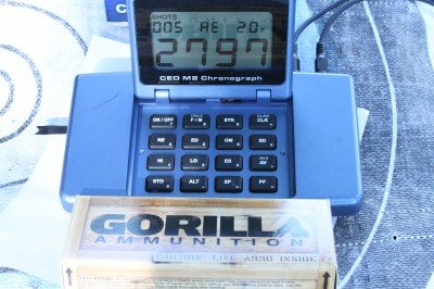 Average velocity on the Gorilla ammo is in the range it should be. It is hard to make full power accurate ammo, and this is great stuff.