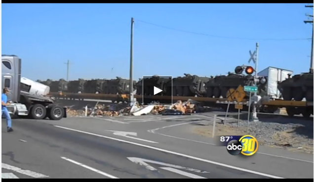 Proof: Martial Law Coming! – Military Vehicle Train Slams Semi