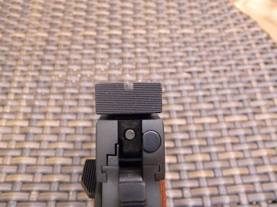 Grooves in the back of the rear sight eliminate glare.