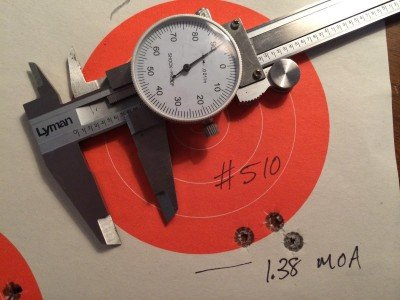 Most of the hand loads tested grouped in the 1.3 minute of angle range at 100 yards.