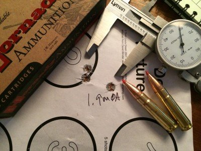 The Hornady 110 grain V-MAX factory ammo performed OK with this rifle with 1.9 minute of angle groups.