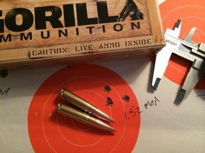 Gorilla Ammunition's 208 grain A-MAX subsonic rounds grouped just over 1.5 MOA at 100 yards.