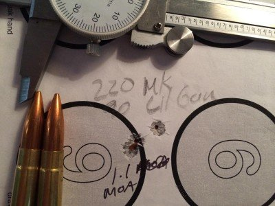 A handload using 220-grain Sierra MatchKing bullets performed exceptionally well. That's three holes.