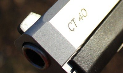 The front sight on the CT 40 is tall enough to be useful for well aimed shots.