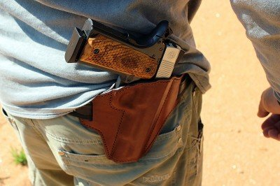 A nice slick holster, like this Bianchi, is perfect for a 1911 that is meant to be carried.