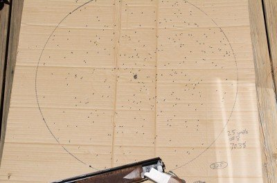 The Improved Cylinder pattern at 25 yards using 1⅛ ounces of #8 shot.