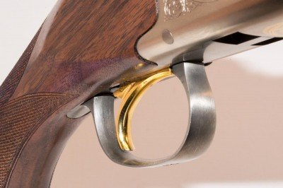 The trigger is radiused and finished with the traditional Browning gold.