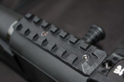 A 3 ¼ inch rail sits just in front of the rear sight. You can take it off if you like.