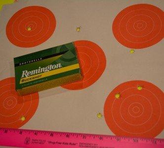 """Remington 2 ¾"""" 9-pellet 00 buckshot at 20 yards."""
