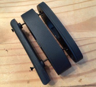 """The two on the right are ½"""" and 1"""" stock spacers which are included should you wish to adjust the stock length. On the left is the factory recoil pad, which I removed in favor of the Kick-Eez."""