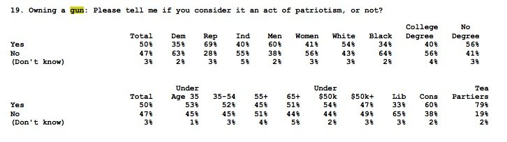 Breakdown of results on whether owning a firearm is patriotic.  (Photo: Fox News)