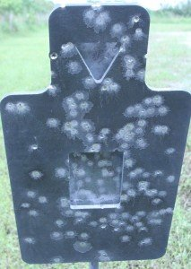 The damage after our test was significant, but it was done to demonstrate what not to do to your steel targets. Our shooting was with a STAG AR-15 at 50 yards, way too close for even an AR550 rated steel target for rifle fire.