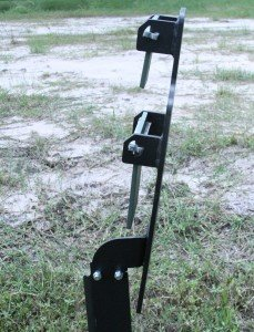 This target has a severely angled head for safety. You can shoot a handgun as close at 10 yards, but rifles are meant to be at better than 100 yards.
