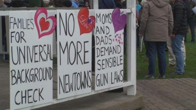 Signs at a pro-gun control protest following the mass shooting at Sandy Hook Elementary School in Newtown, Connecticut.  (Photo KEZI.com)