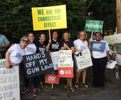 Activists who gathered in Connecticut over the weekend to protest Gov. Chris Christie's veto of a New Jersey bill that would have limited the state's magazine capacity to 10 rounds (Photo: Everytown)