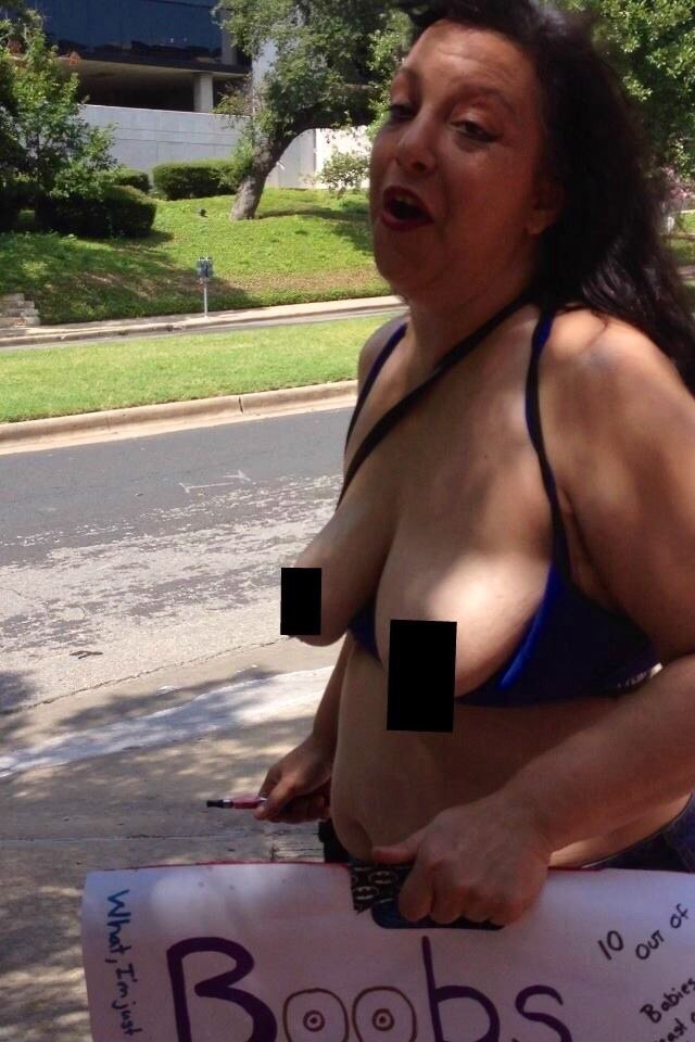 Another topless demonstrator.  (Photo: Buzzpo)