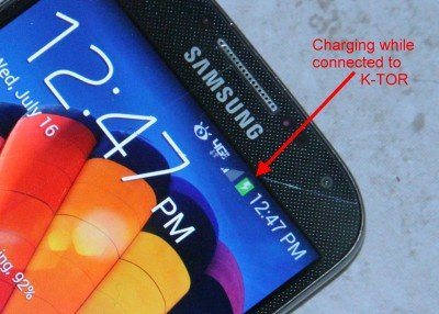 This Samsung Galaxy S4 showed charging with slow pedaling.