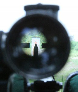 The 3.5x Russian PU has a pointed post reticle. It looks crude but works great out to long distances.