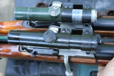 The Russian PU scope can be zeroed and then dialed in to up to 1300 yards and 10mpg crosswind.