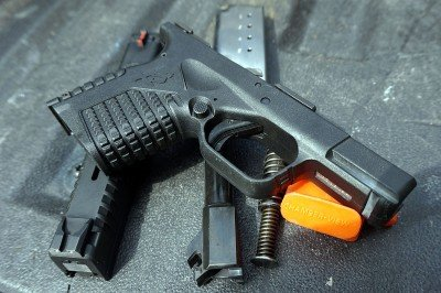 The gun comes apart easily for cleaning, and should be cleaned often to insure reliability.