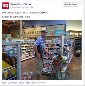 An open carry advocate happily shopping at a Kroger chain.  (Photo: Everytown)