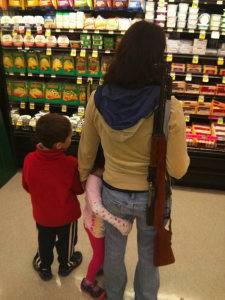 Apparently, this mom believes in her 2A right to openly carry a firearm.  (Photo: Everytown)