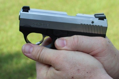 With the thumb on the trigger guard, it is easy to avoid any accidental misplacement.